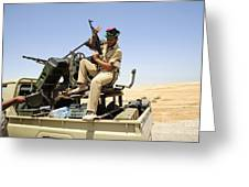 A Free Libyan Army Pickup Truck Greeting Card by Andrew Chittock