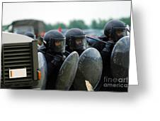 A Training Session In Riot And Crowd Greeting Card by Luc De Jaeger