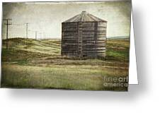 Abandoned wood grain storage bin in Saskatchewan Greeting Card by Sandra Cunningham