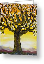 Allah's Name In A Tree Greeting Card by Felicity LeFevre