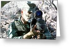 An Army Ranger Sets Up An Anpaq-1 Laser Greeting Card by Stocktrek Images