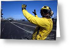 An Aviation Boatswains Mate Directs Greeting Card by Stocktrek Images