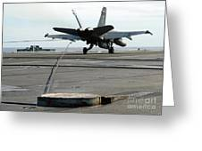 An Fa-18c Hornet Makes An Arrested Greeting Card by Stocktrek Images