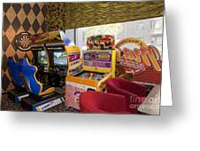 Arcade Game Machines At A Diner Greeting Card by Jaak Nilson