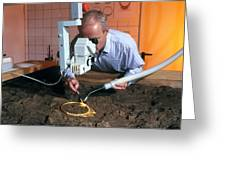 Archaeologist Cleaning A Golden Celtic Necklace Greeting Card by Volker Steger