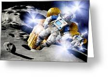 Asteroid Deflection, Astronauts Greeting Card by Detlev Van Ravenswaay