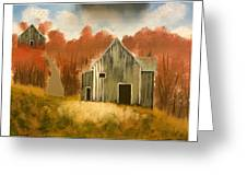 Autumn Rustic Barns Greeting Card by Imran Virk