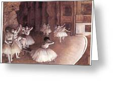 Ballet Rehearsal On The Stage Greeting Card by Edgar Degas