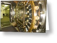 Bank Vault Interior Greeting Card by Adam Crowley