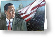 Barack Obama Greeting Card by Howard Stroman