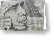 Barack Obama Greeting Card by Stephen Sookoo