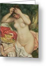 Bather Arranging Her Hair Greeting Card by Pierre Auguste Renoir