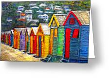 Beach Houses At Fish Hoek Greeting Card by Michael Durst