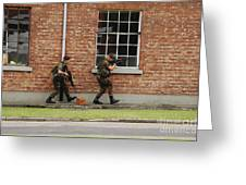 Belgian Soldiers On Patrol Greeting Card by Luc De Jaeger