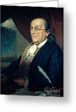 Benjamin Franklin, American Polymath Greeting Card by Photo Researchers