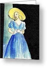 Blue Gown Greeting Card by Mel Thompson