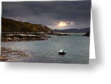 Boat In Water, Loch Sunart, Scotland Greeting Card by John Short