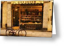 Boulangerie And Bike Greeting Card by Mick Burkey