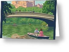 Bow Bridge in Central Park Greeting Card by Mitch Frey