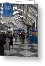 Busy Airport Terminal Concourse At Chicago's O'hare Airport Greeting Card by Christopher Purcell