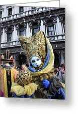 Carnival-goer In Blue And Gold Greeting Card by Pam Blackstone