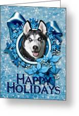 Christmas - Blue Snowflakes Siberian Husky Greeting Card by Renae Laughner