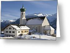 Church In Winter Greeting Card by Matthias Hauser