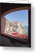 Cinque Terre Town Of Manarola Greeting Card by Jeremy Woodhouse