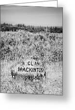 clan mackintosh memorial stone on Culloden moor battlefield site highlands scotland Greeting Card by Joe Fox