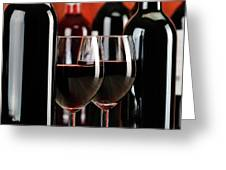 Composition With Glasses And Bottles Of Wine Greeting Card by T Monticello