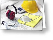 Construction Worker's Safety Equipment Greeting Card by Tek Image