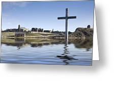 Cross In Water, Bewick, England Greeting Card by John Short