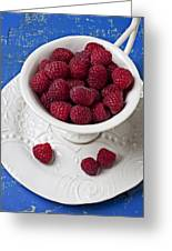Cup Full Of Raspberries Greeting Card by Garry Gay