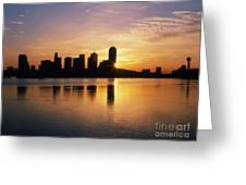 Dallas Skyline At Dawn Greeting Card by Jeremy Woodhouse