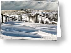Drifting Snow Along The Beach Fences At Nauset Beach In Orleans  Greeting Card by Matt Suess