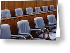 Empty Jury Seats In Courtroom Greeting Card by Jeremy Woodhouse