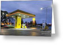 Estonian Gas Station At Night Greeting Card by Jaak Nilson