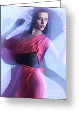 Fashion Photo Of A Woman In Shining Blue Settings Greeting Card by Oleksiy Maksymenko