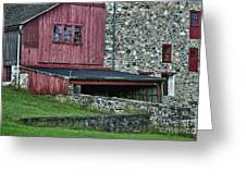 Field Stone Barn Greeting Card by John Greim