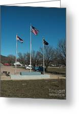 Flags With Blue Sky Greeting Card by Kip DeVore