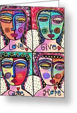 Four Gemstone Angels  Greeting Card by Sandra Silberzweig