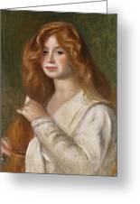 Girl Combing Her Hair Greeting Card by Pierre Auguste Renoir