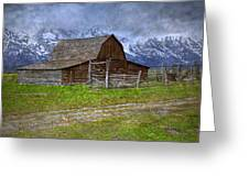 Grand Teton Iconic Mormon Barn Fence Spring Storm Clouds Greeting Card by John Stephens