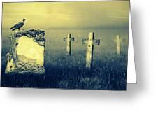 Gravestones In Moonlight Greeting Card by Jaroslaw Grudzinski