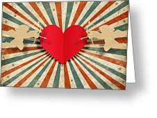 Heart And Cupid With Ray Background Greeting Card by Setsiri Silapasuwanchai