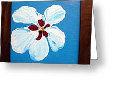 Hibiscus On Blue Greeting Card by Karen Nicholson