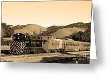 Historic Niles Trains In California.southern Pacific Locomotive And Sante Fe Caboose.7d10819.sepia Greeting Card by Wingsdomain Art and Photography
