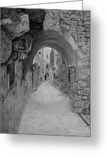 Jerusalem Old Street Greeting Card by Marwan Hasna - Art Beat