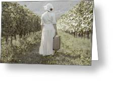 Lady In Vineyard Greeting Card by Joana Kruse