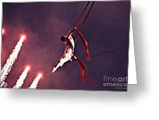 Man Dancing Sky High On Silks Greeting Card by Jayne Logan Intveld